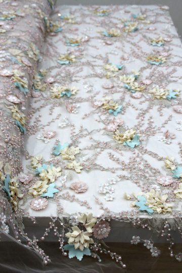 multiple color 3d floral beaded lace fabrics