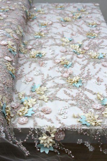 многоцветные 3d цветочные вышитые бисером кружевные ткани