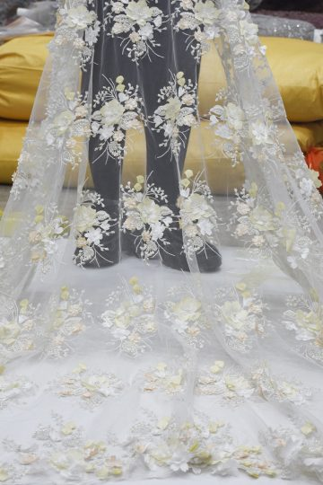 3d beaded floral lace fabric