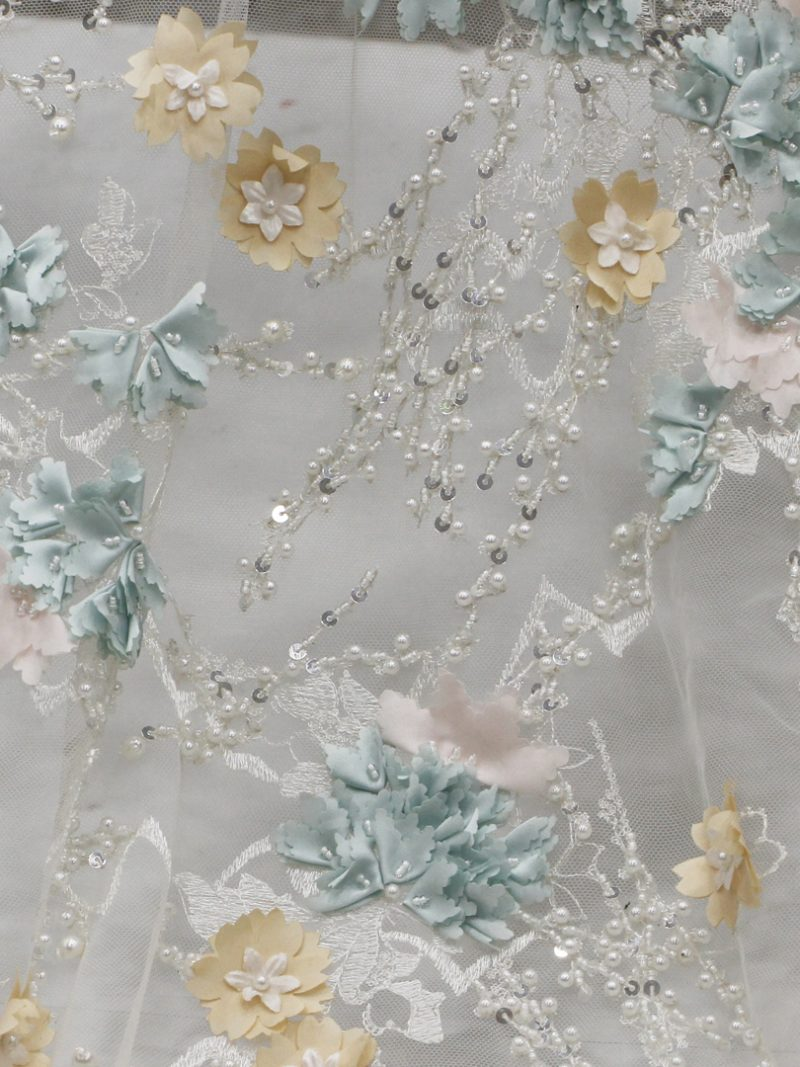 multiple color 3d floral beaded lace