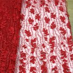 красные 3d цветочные вышитые бисером кружевные ткани