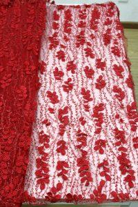 أحمر 3d الأزهار مطرز أقمشة الدانتيل