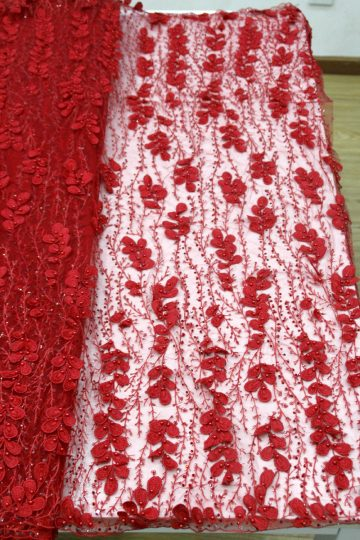 red 3d floral beaded lace fabrics