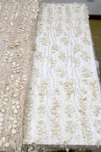 бежевая вышитая бисером 3d цветочная кружевная ткань