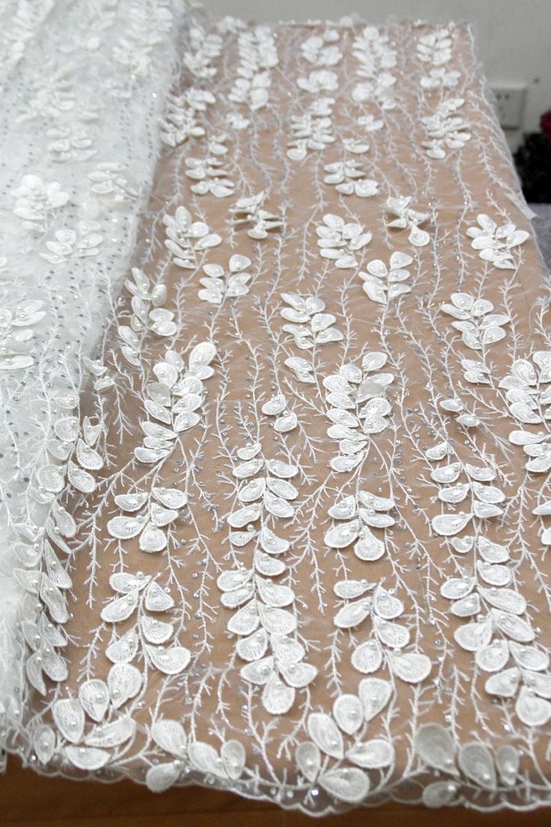 الأبيض نسيج الدانتيل مطرز الزفاف 3d زهرة الدانتيل