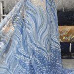 السماء الزرقاء مطرز يدويا نسيج الدانتيل فستان الزفاف أقمشة الدانتيل الترتر