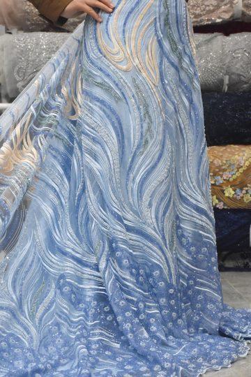 tecido de renda trabalhada à mão azul celeste vestido de noiva tecidos de lantejoulas de renda