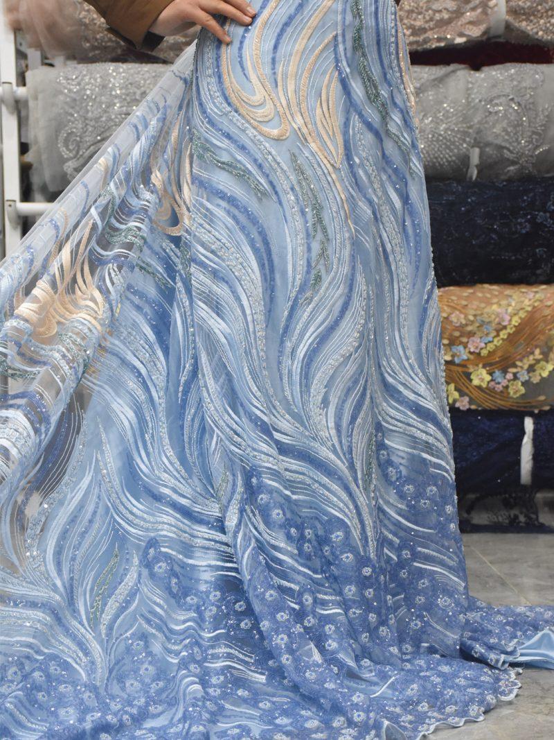 cielo azul con cuentas trabajo hecho a mano tela de encaje vestido de novia encaje lentejuelas telas