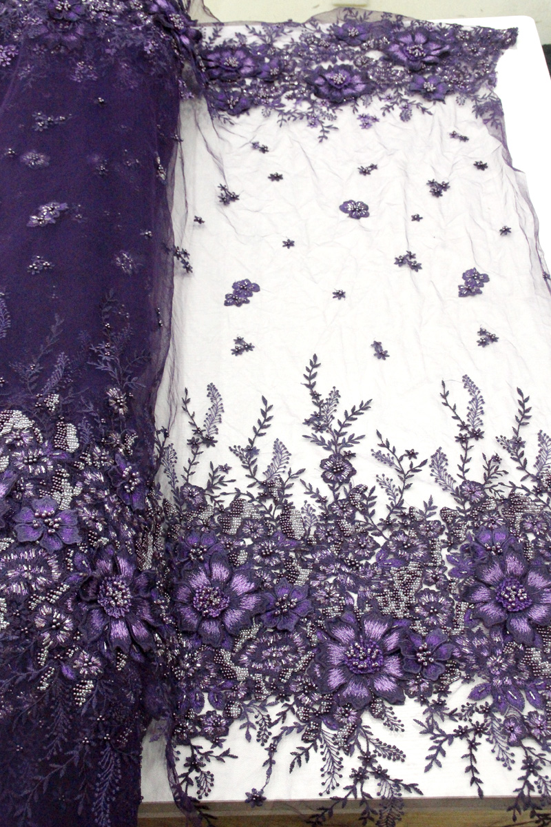 handwork beaded lace purple lace fabric