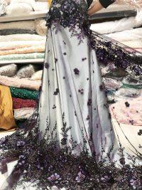 фиолетовое платье из бисера из кружевной ткани
