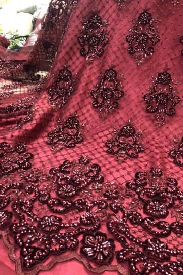 wine red beaded handwork velvet lace fabric