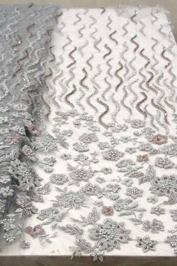 ash grey beaded floral lace fabrics