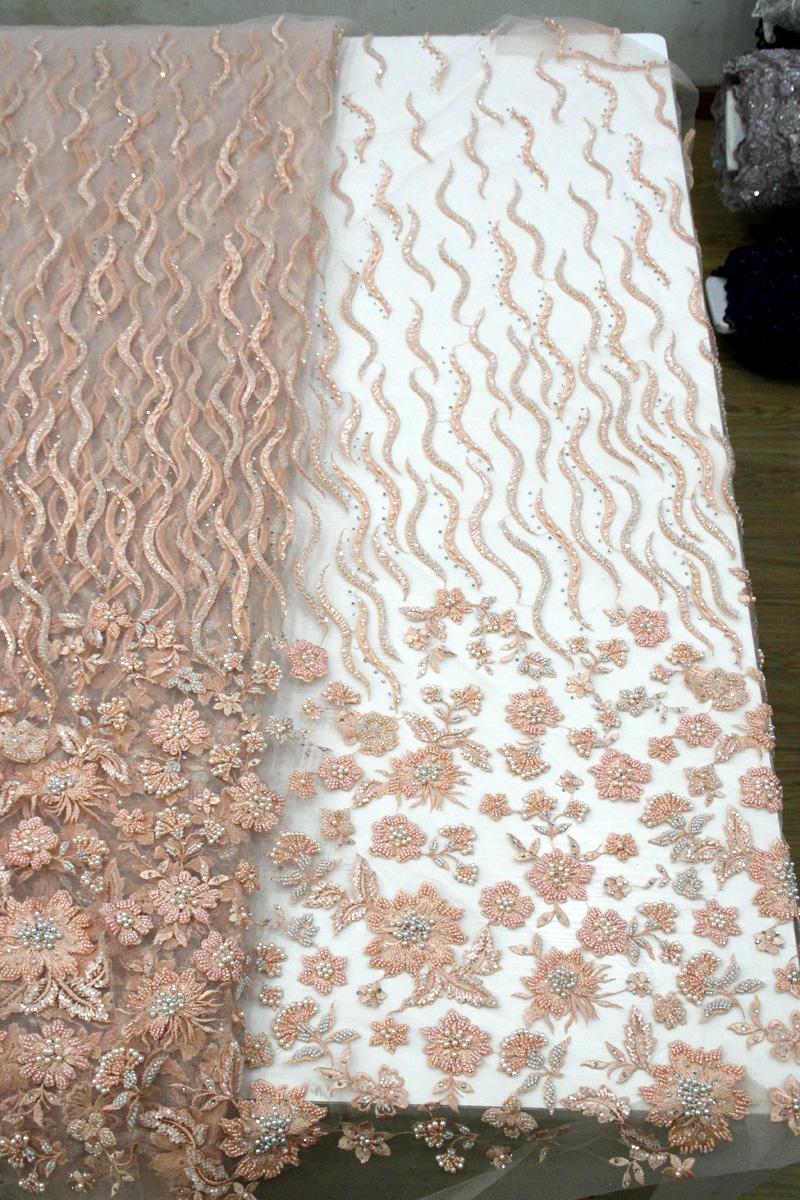 персиковые вышитые бисером цветочные кружевные ткани