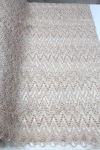 cream beaded 3d lace fabric
