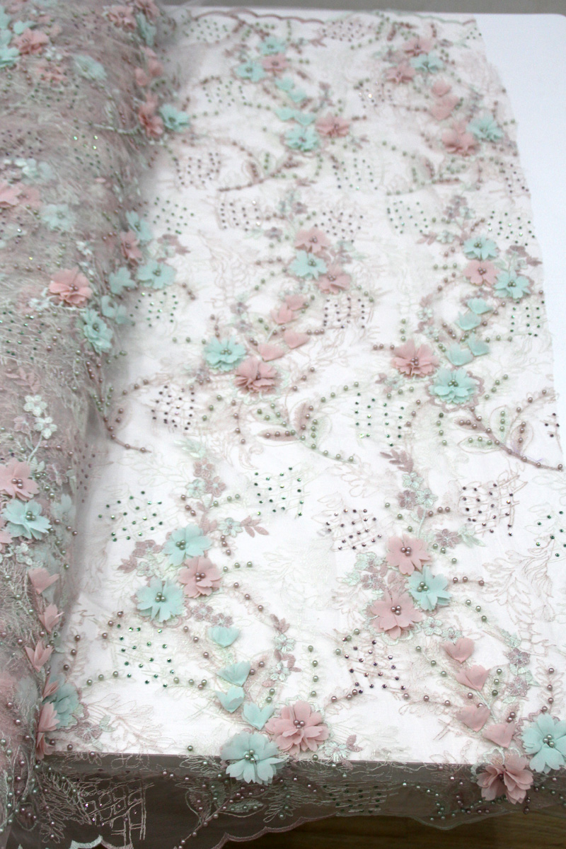 beaded 3d floral lace fabric