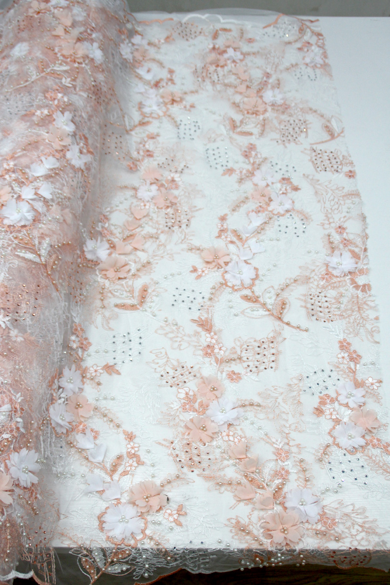peach beaded 3d floral lace fabric