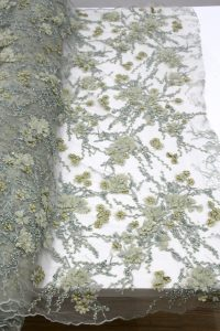 green floral beaded lace fabrics