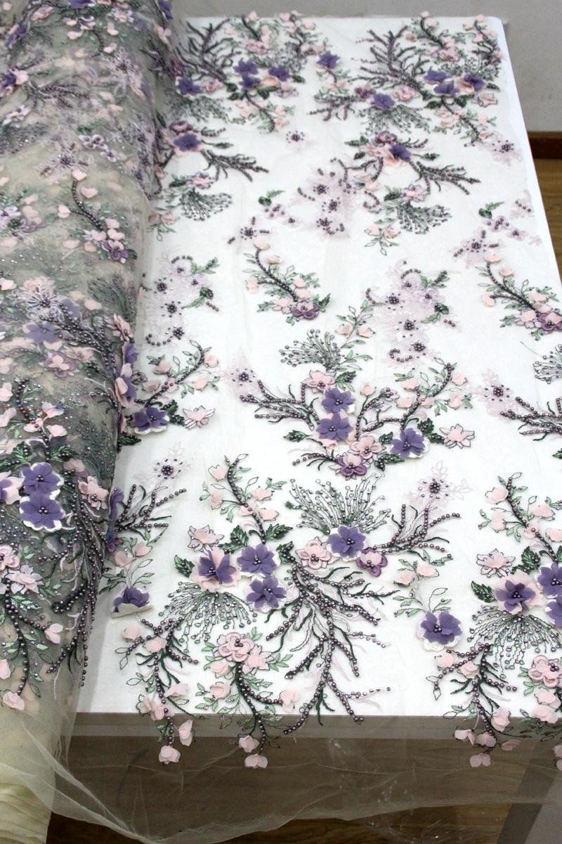 tela de cuentas de encaje de flores
