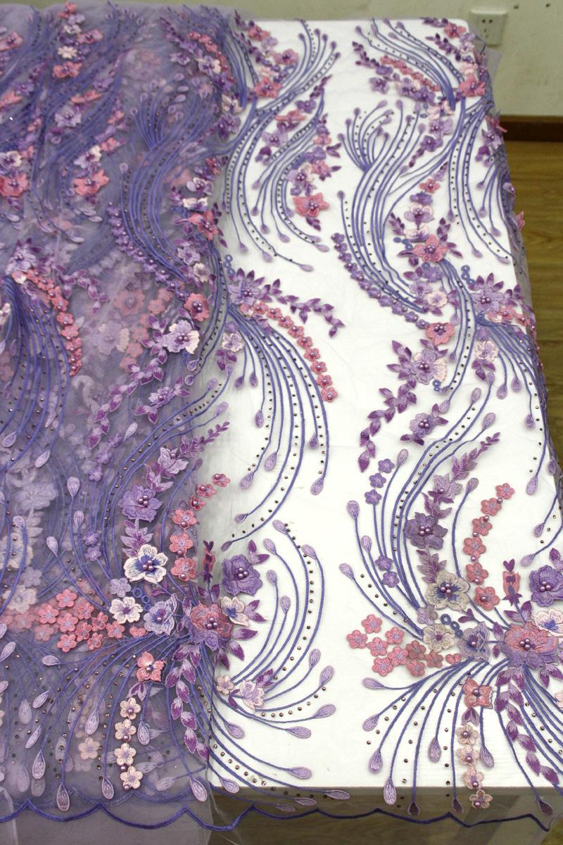 Telas de encaje floral 3d