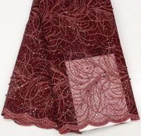 Simple lines beaded embroidery tulle lace fabrics