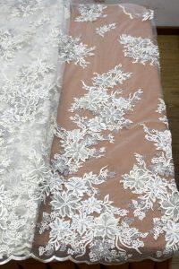 Telas de encaje bordado floral 3d