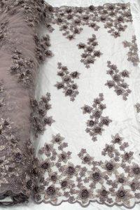 розовая розовая 3d цветочная кружевная ткань