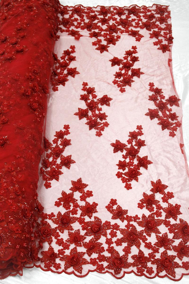 красный цветок 3d цветочные кружевной ткани