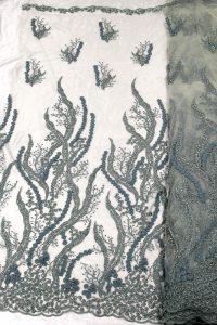 telas de encaje floral 3d verde telas de vestir con cuentas
