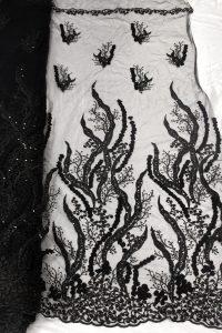 tela de vestido negro telas de encaje floral 3d beaed
