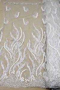 Crema beige con cuentas tela de encaje 3d telas de vestir florales