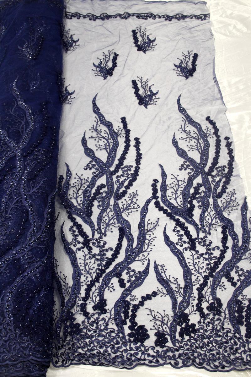 telas de encaje con cuentas azul real telas de vestido floral 3d