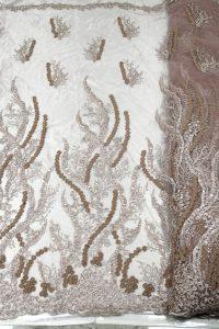 blush pink 3d flor tela de encaje telas de encaje con cuentas hechas a mano