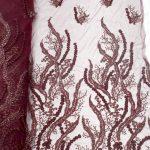 красное вино из бисера 3d цветок кружевной ткани