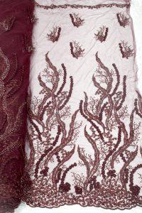 tela de encaje de flores 3d con cuentas rojo vino