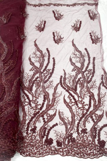 wine red beaded 3d flower lace fabric
