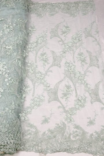 green beaded lace 3d floral fabrics