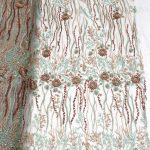 3d цветок вышитое бисером платье из ткани ручной работы кружево