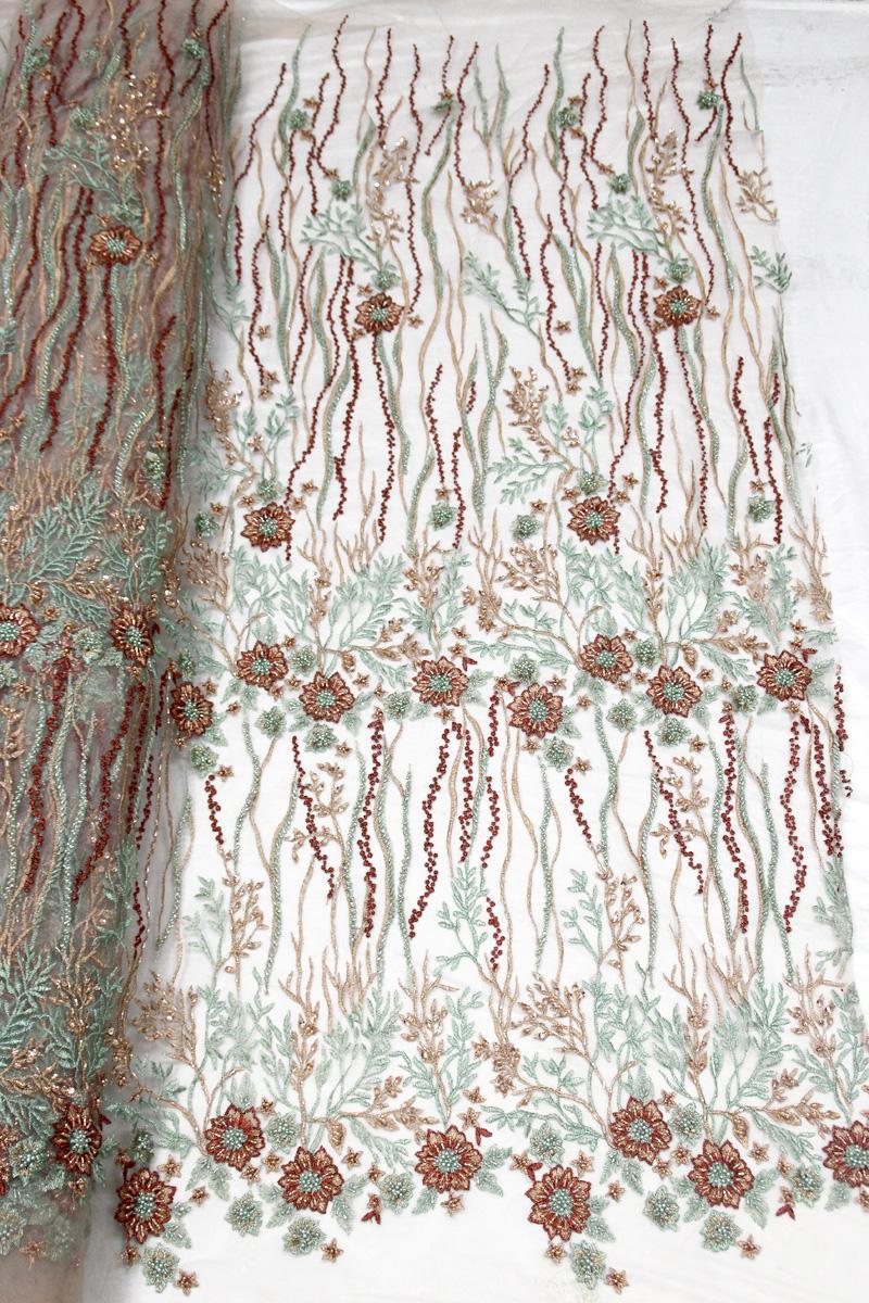 3d flower beaded dress fabrics handmade lace