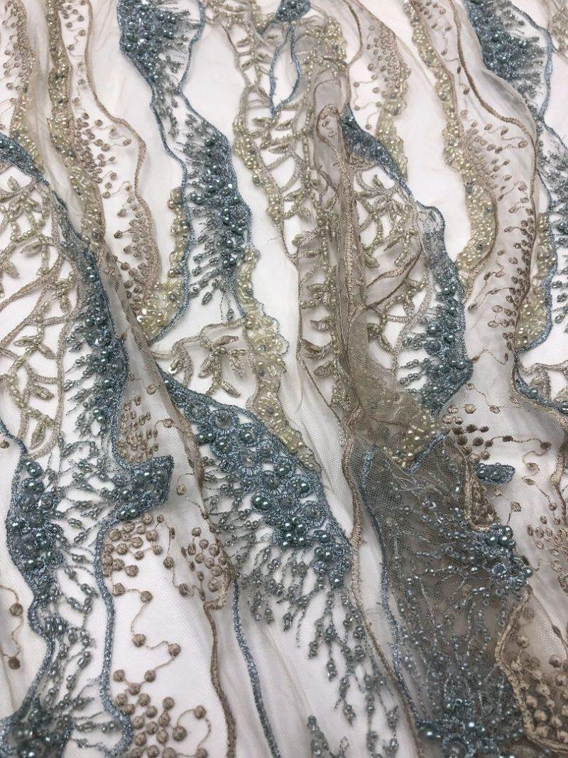 handwork beaded lace fabrics