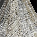 cream beaded lace fabric