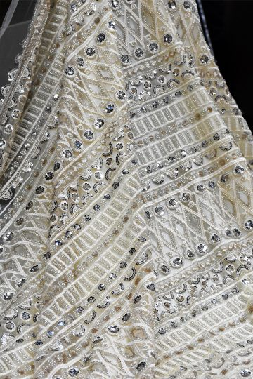 cream beaded lace fabric