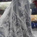 ash grey silver beaded lace fabrics