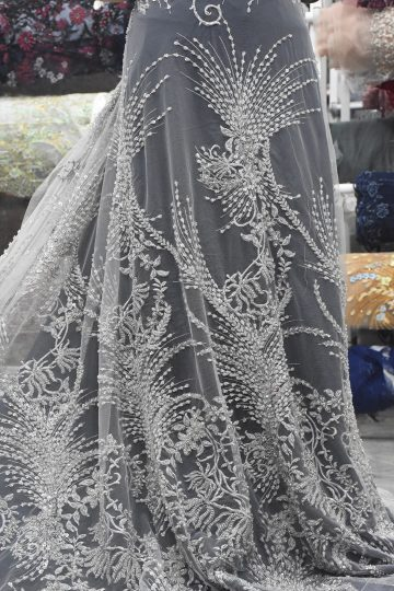 ash grey silver beaded lace fabrics