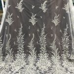 offwhite bridal wedding lace fabric embroidery beaded lace fabric