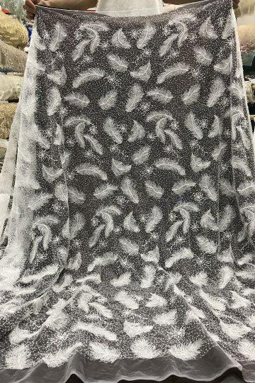 Offwhite свадебная свадебная кружевная ткань с вышивкой из бисера кружевная ткань