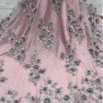 blush pink 3d flower lace fabric bridal lace