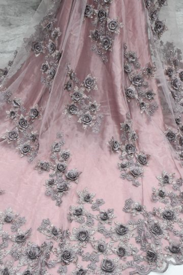 blush pink 3d flower lace fabric nupcial encaje
