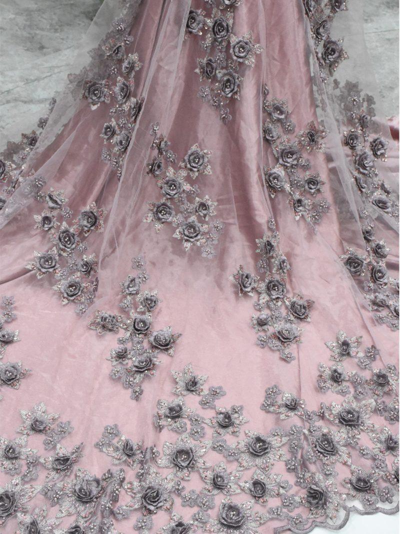 румяна розовый 3d цветок кружевная ткань свадебное кружево
