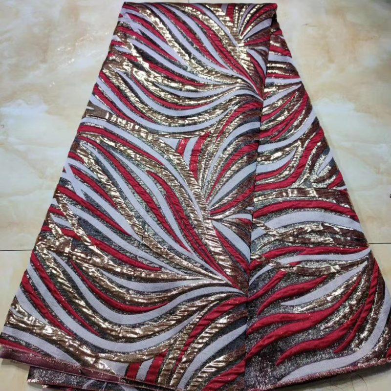Tela africana elegante del kimono del telar jacquar floral metálico de la seda de la tela del brocado para el partido