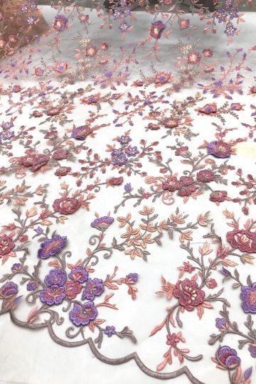 Tecidos de renda floral 3D